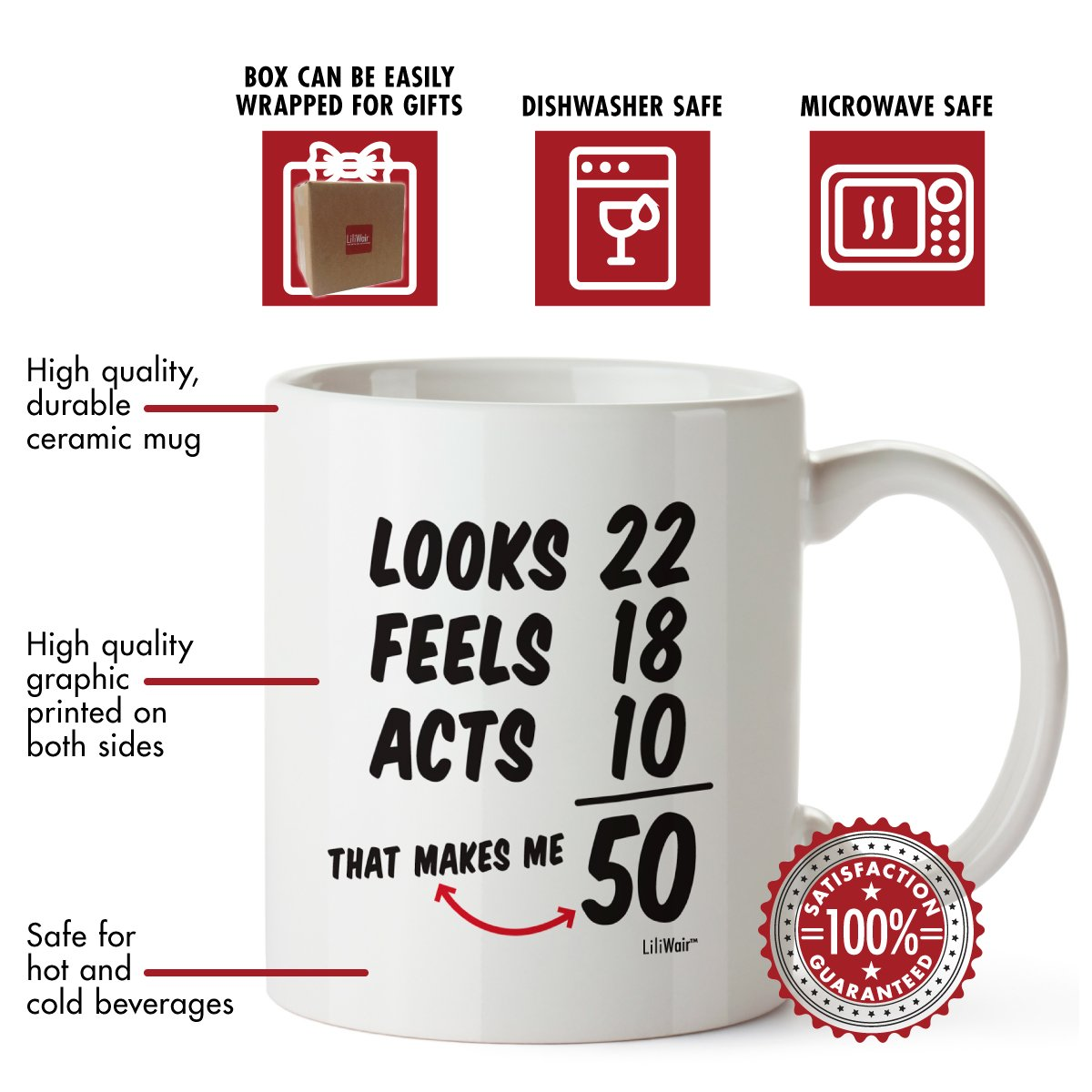 50th Birthday Gifts For Women Fifty Years Old Men Gift Mug Happy Funny 50 Mens Womens Womans Wifes Female Man Best Friend 1968 Male Unique Mugs Ideas 68