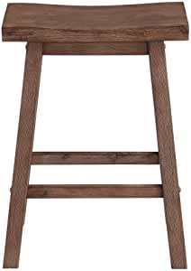 Boraam Sonoma Counter Height Saddle Stool 24 Inch Barnwood Wire Brush Furniture Decor