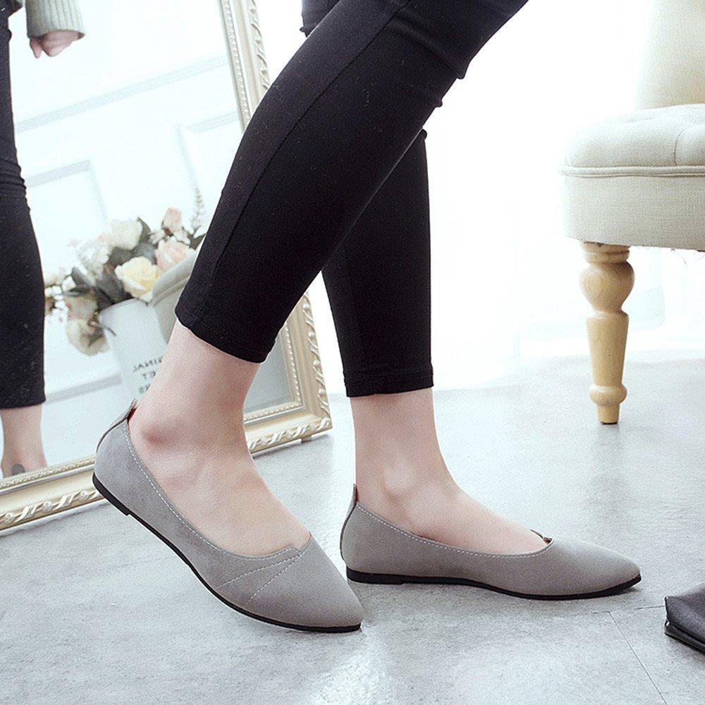 Sunyastor Women's Ballet Comfort Light Faux Suede Multi Color Shoe Flat Pointed Toe Soft Flat Slip-on Fashion Loafer Shoes Gray by Sunyastor Shoes (Image #3)