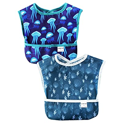 Sincere Baby Waterproof Starter Bibs Infant Washable Stain and Odor Resistant Easy Clean with Pocket(6M-36M) Pack of 2: Clothing
