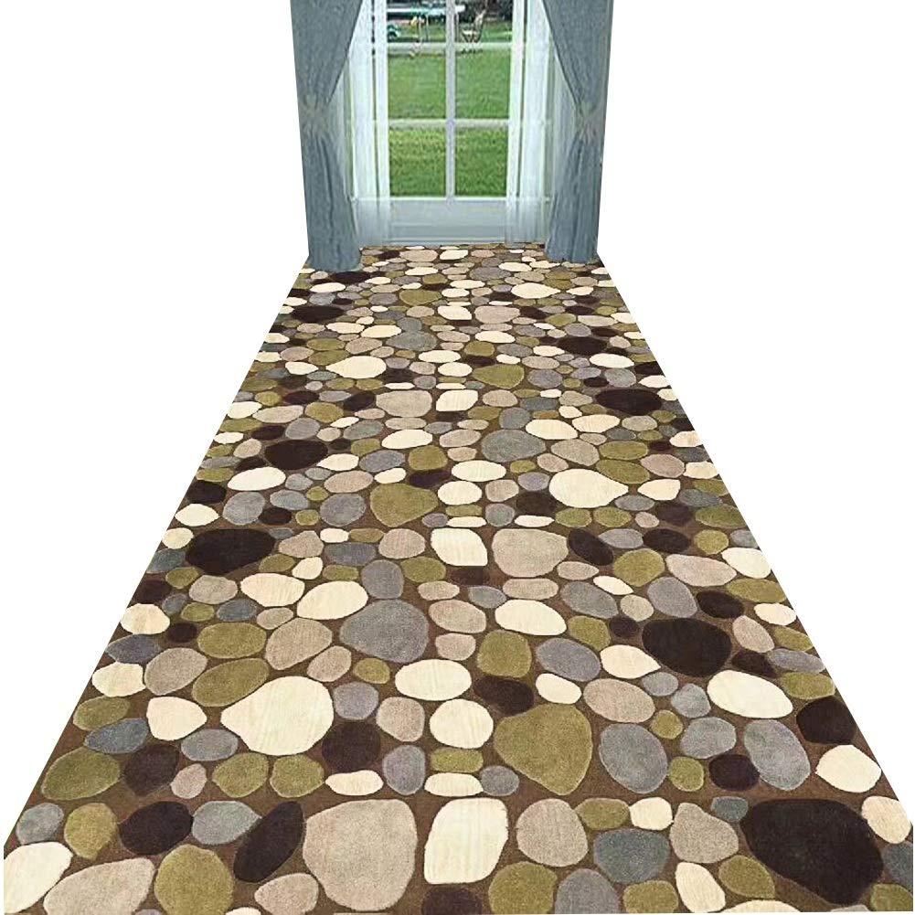YANGJUN 廊下のカーペット 滑り止め 柔らかい 印刷 洗える 家庭 ホテル 通路 褐色 サークル 石 カッタブル カスタマイズ可能 (色 : A, サイズ さいず : 1.4x4m) B07RJJBBMQ A 1.4x4m