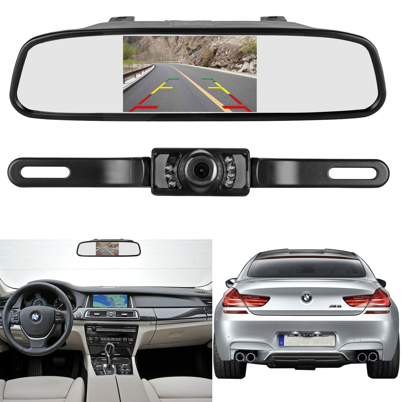 Leekooluu Backup Camera And 43 Mirror Monitor Kit For Wiring F150 Car Suv Rv Van Truck Single Power Rear View System Driving Reversing Use Ip68