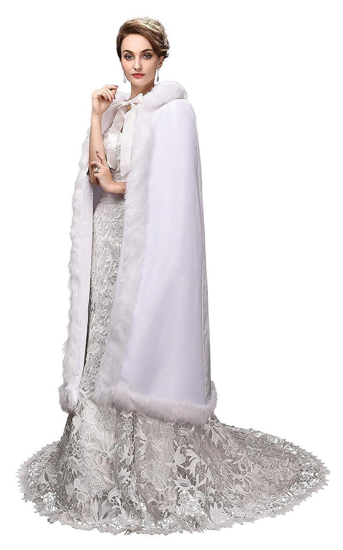 Victorian Wraps, Capes, Shawl, Capelets  Long Faux Fur Cape Velvet Wedding Bridal Cloak $78.99 AT vintagedancer.com