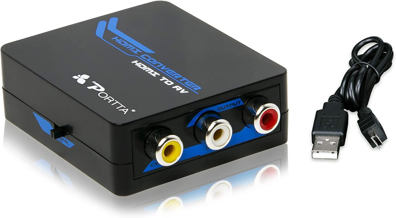 Portta PETHCBE1 HDMIto3RCACompositeAV(CVBS) Mini Converterby USB Cable Blue forTV / PC / PS3 / Blue-Ray/ TV / VHS / VCR / DVD 1080P Support NTSC / PAL - NotforWindows10