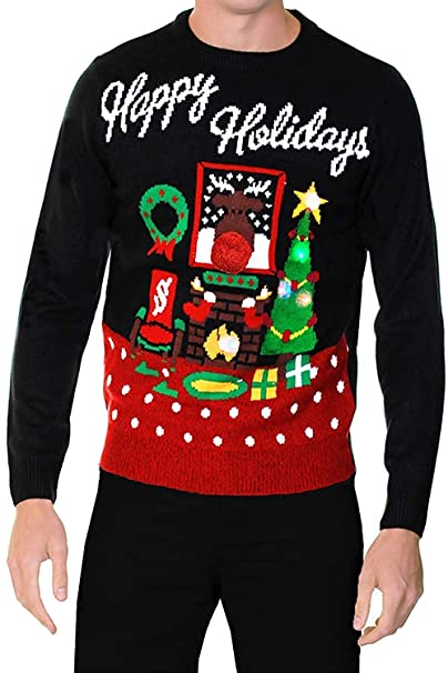 performance sportswear crazy price attractive colour Adults Threadbare Novelty Light Up Christmas Jumpers