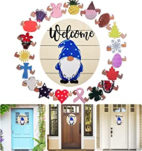 ANASTA Welcome Sign for Front Door, Gnome Door Decoration, Interchangeable Holiday Front Door Decor, Welcome Wall Hanging Porch Decorations for Farmhouse, Rustic Welcome Door Sign