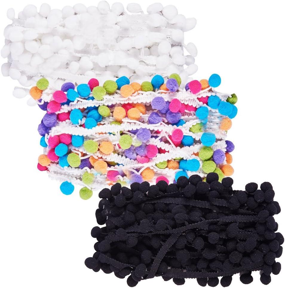 NBEADS 18 m Pom Pom Trim Bola Flecos Cinta Borde decoración Coser Encaje Coser Tela DIY Craft (3 Colores/Pack 6 m/Color)