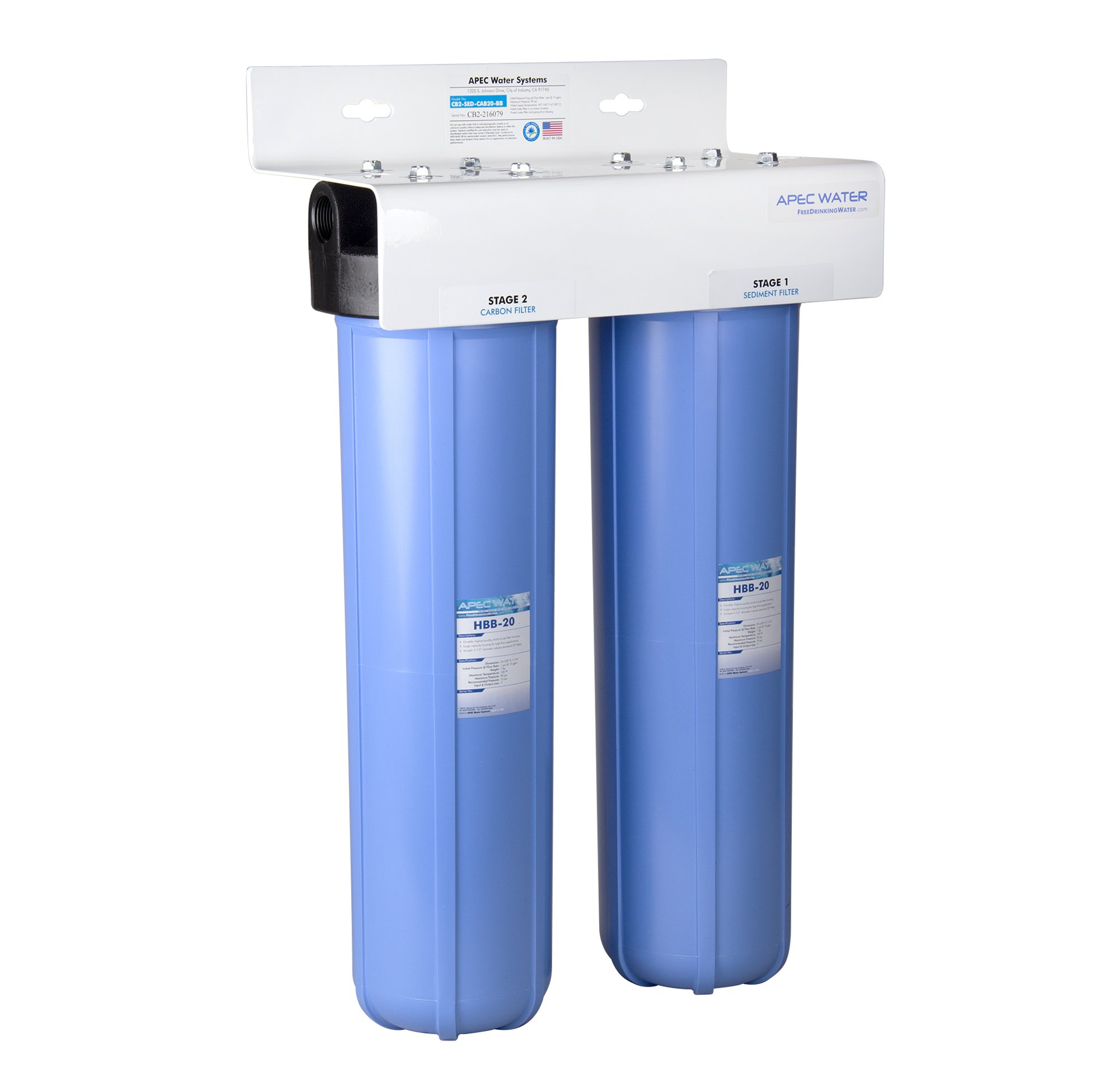 APEC 2-Stage Whole House Water Filter System with Sediment and Carbon Filters (CB2-SED-CAB20-BB)