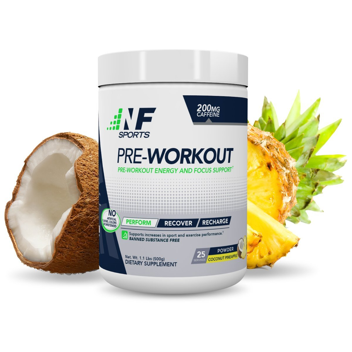 NF Sports Pre-Workout - Supports Energy, Cognitive Function, Strength, And Muscular Endurance To Optimize Workouts - Coconut-Pineapple Flavor - 100% Satisfaction Guaranteed