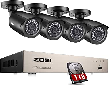 ZOSI 8-Channel HD-TVI 1080P Video Security Camera System,DVR Recorder with 1TB Hard Drive and (4) 2.0MP 1920TVL Indoor/Outdoor Bullet Camera,IP66 Weatherproof 105° View Angle and IR Night Vision