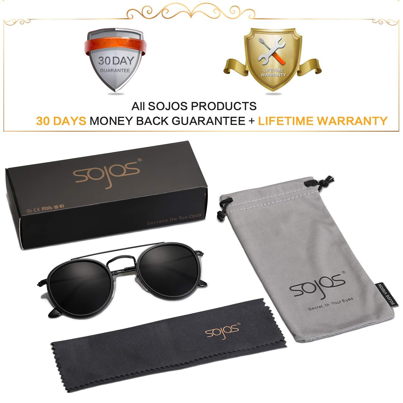 4cd34390a70 SOJOS Small Round Polarized Sunglasses Double Bridge Frame Mirrored Lens  SUNSET SJ1104 with Black Frame Grey Polarized Lens at Amazon Men s Clothing  store