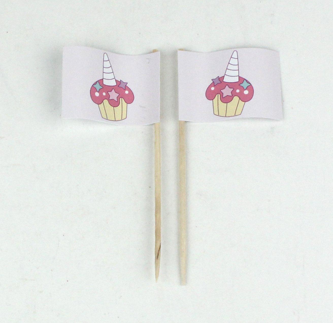 Buddel-Bini Party-Picker Flagge Cupcake Muffin Einhorn Shower Kindergeburtstag Papierfähnchen in Profiqualität 50 Stück Beutel Offsetdruck Riesenauswahl aus Eigener Herstellung