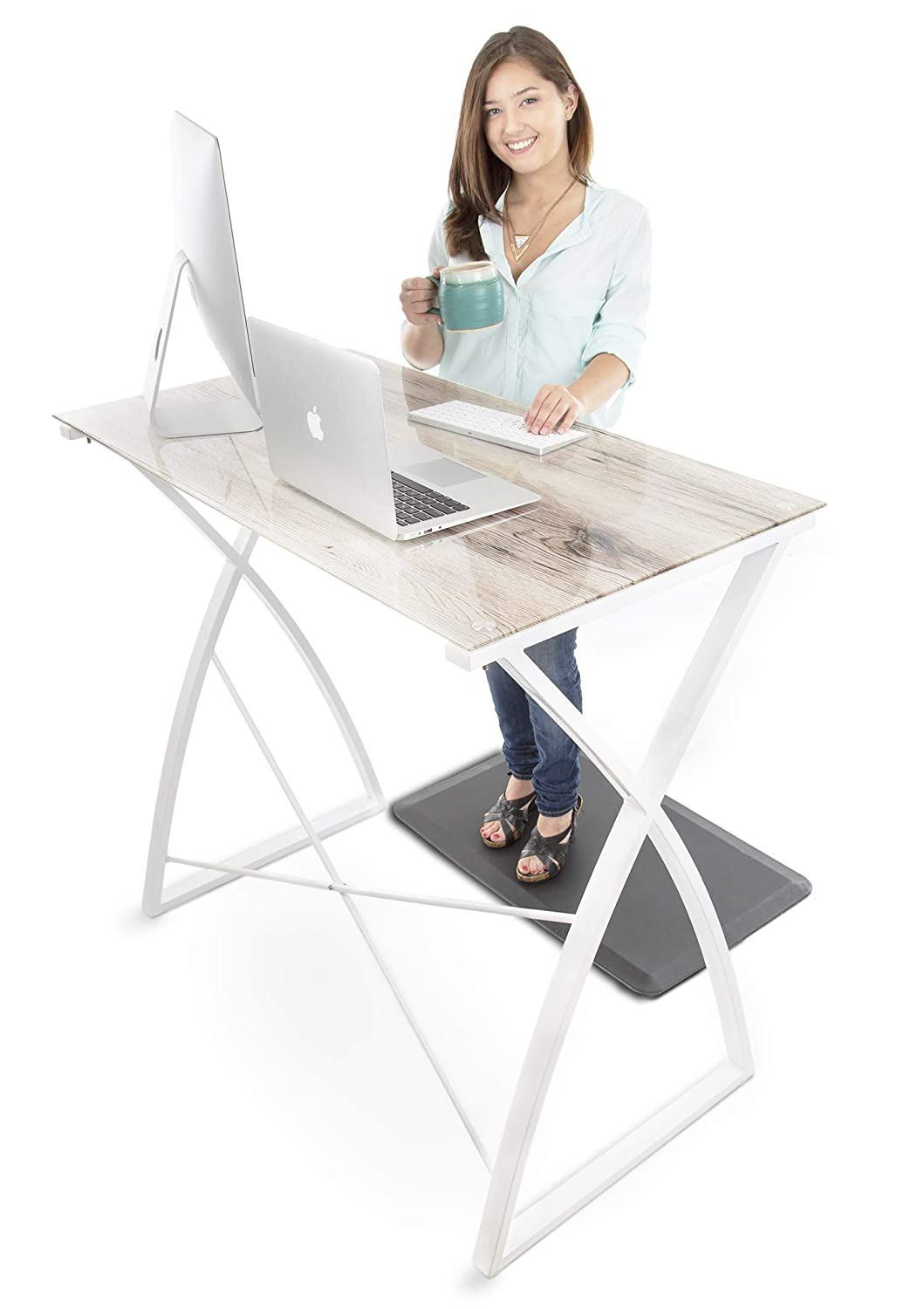 "Stand Steady Joy Desk | Multifunctional Standing Table, Modern Glass Top with White Wood Look | Pretty Standing Desk w/Spacious Desktop Perfect for Home, Office & More! (White Wood / 43.25"" x 23.5"")"