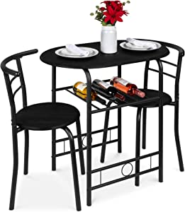 Best Choice Products 3-Piece Wooden Round Table & Chair Set for Kitchen, Dining Room, Compact Space w/Steel Frame, Built-in Wine Rack - Black