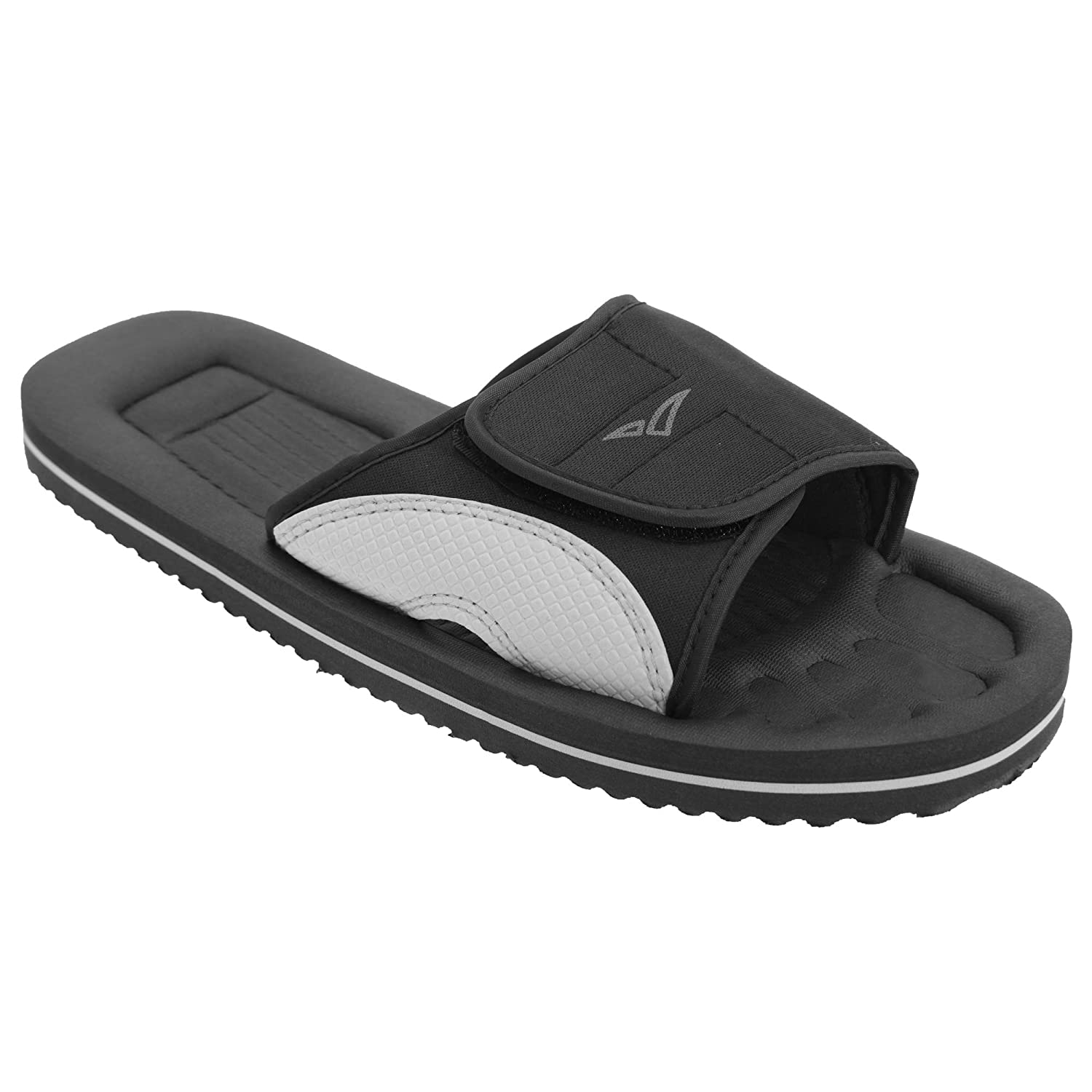 43 EUR Black//Grey PDQ Mens Surfer Touch Fastening Beach Mule Pool Shoes