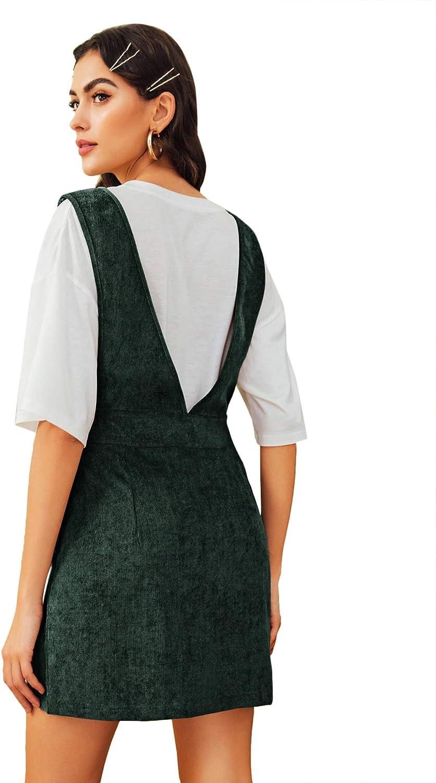 WDIRARA Womens Dual Pocket Corduroy Suspender Dresses Pinafore Overall Dress