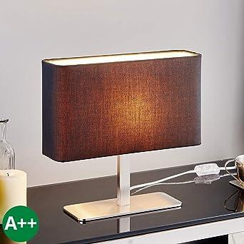 Lampe à poser \'Nisa\' (Moderne) en Noir en Textile e. a. pour Salon ...