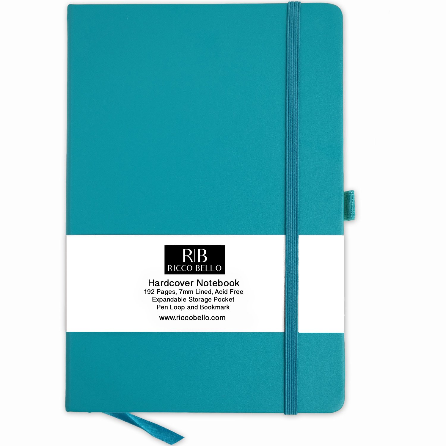 RICCO BELLO Classic Ruled Notebook with Pen Loop / 5.7 x 8.4 inches (Teal)
