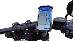 "Moto TrailKASE -Universal Phone Holder for Your Motorcycle, ATV, or Bicycle - Fits iPhone 11, 11 Max Pro, X, XR, 8 | 8 Plus, 7 | 7 Plus, iPhone, Galaxy, S9, Holds Phones Up to 3.5"" Wide & 6.9"" Tall"