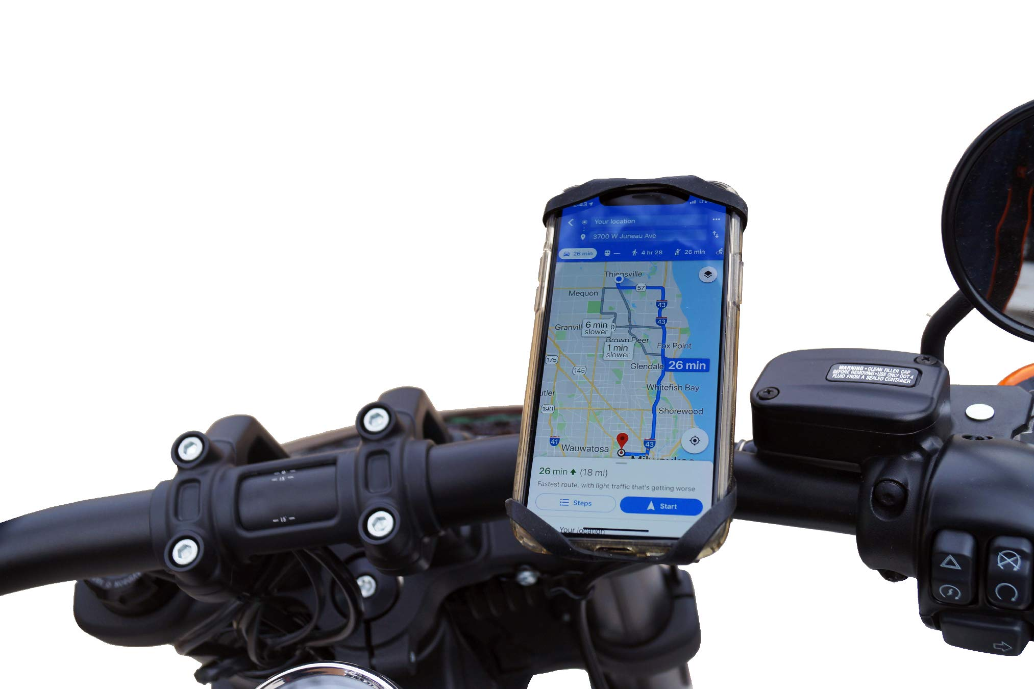 Moto TrailKASE -Universal phone holder for your Motorcycle, ATV, or Bicycle - Fits iPhone 7,8,9,X,XS,XR, iPhone 7, 8 Plus, iPhone XS Max, Samsung Galaxy S9, S8, S7