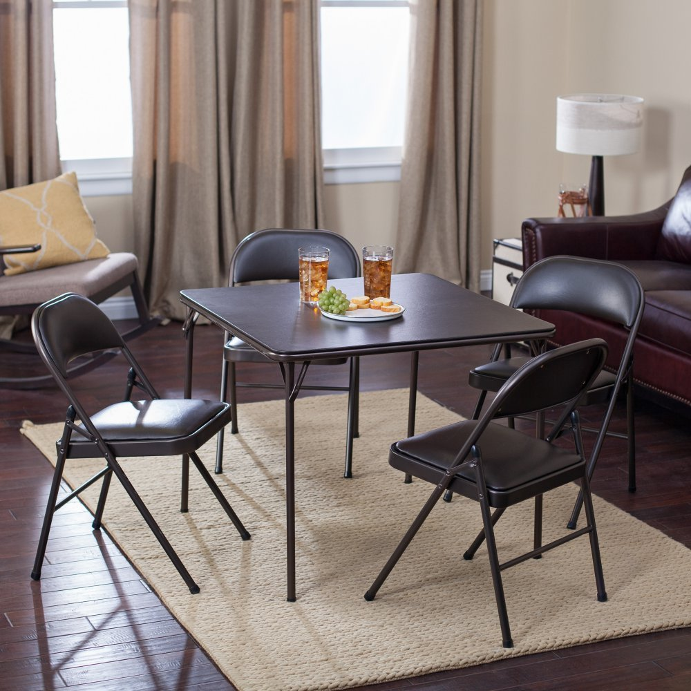 Meco Sudden Comfort Deluxe Double Padded Chair and Back- 5 Piece Card Table Set