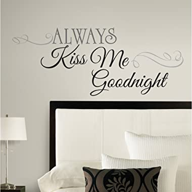 RoomMates Always Kiss Me Goodnight Quote Peel and Stick Wall Decals