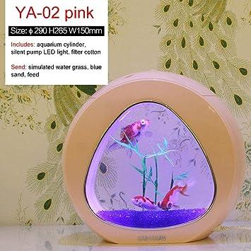 Haomingxing Ecology Mini pecera, Nano Acuario, con Filtro Incorporado + luz LED, Rosa (YA-02 L): Amazon.es: Productos para mascotas