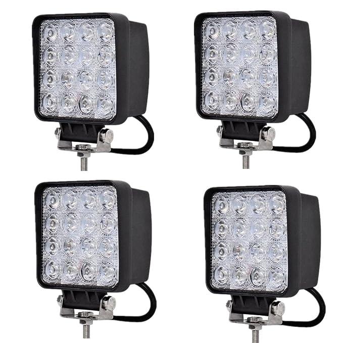 MCTECH 4 X 48W Quadrat LED Offroad Flutlicht Reflektor Scheinwerfer Arbeitslicht SUV, UTV, ATV Arbeitsscheinwerfer Zusatzsche