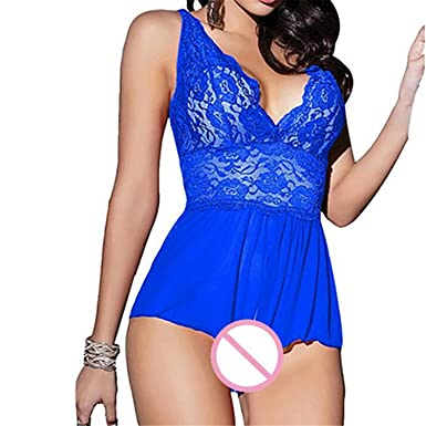 fe8c57065 Amazon.com  Fashion Womens Deep V Lace Sexy Lingerie Halter Babydoll  G-String Dress Strap Dress Sleepwear Lady Gift  Clothing