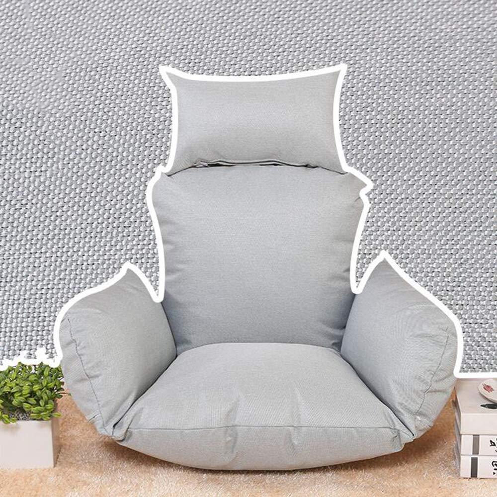 ZGYQGOO Schaukel Kissen mit Kissen, Terrasse Garten Wicker hängen Ei Rattan Stuhl Hängematte Pad, einfarbig drinnen oder draußen ohne Ständer (nur Kissen) -grau 100x110cm (39x43inch)