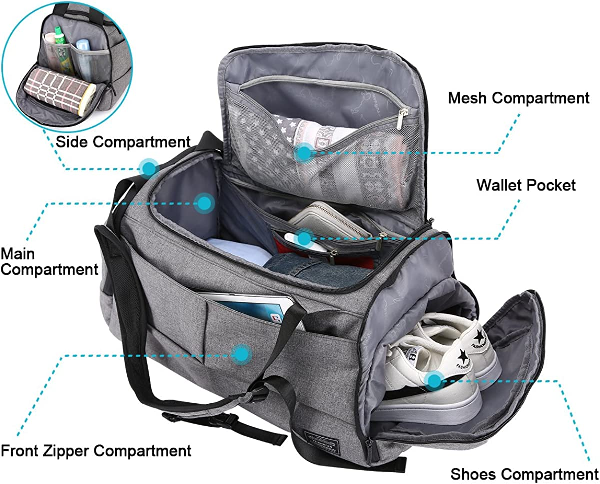 Camping Sports Gym Bag 3 Way Duffel Backpack Overnight Weekender Tote with Shoes Pouch Carry on Bag for Workout Travel