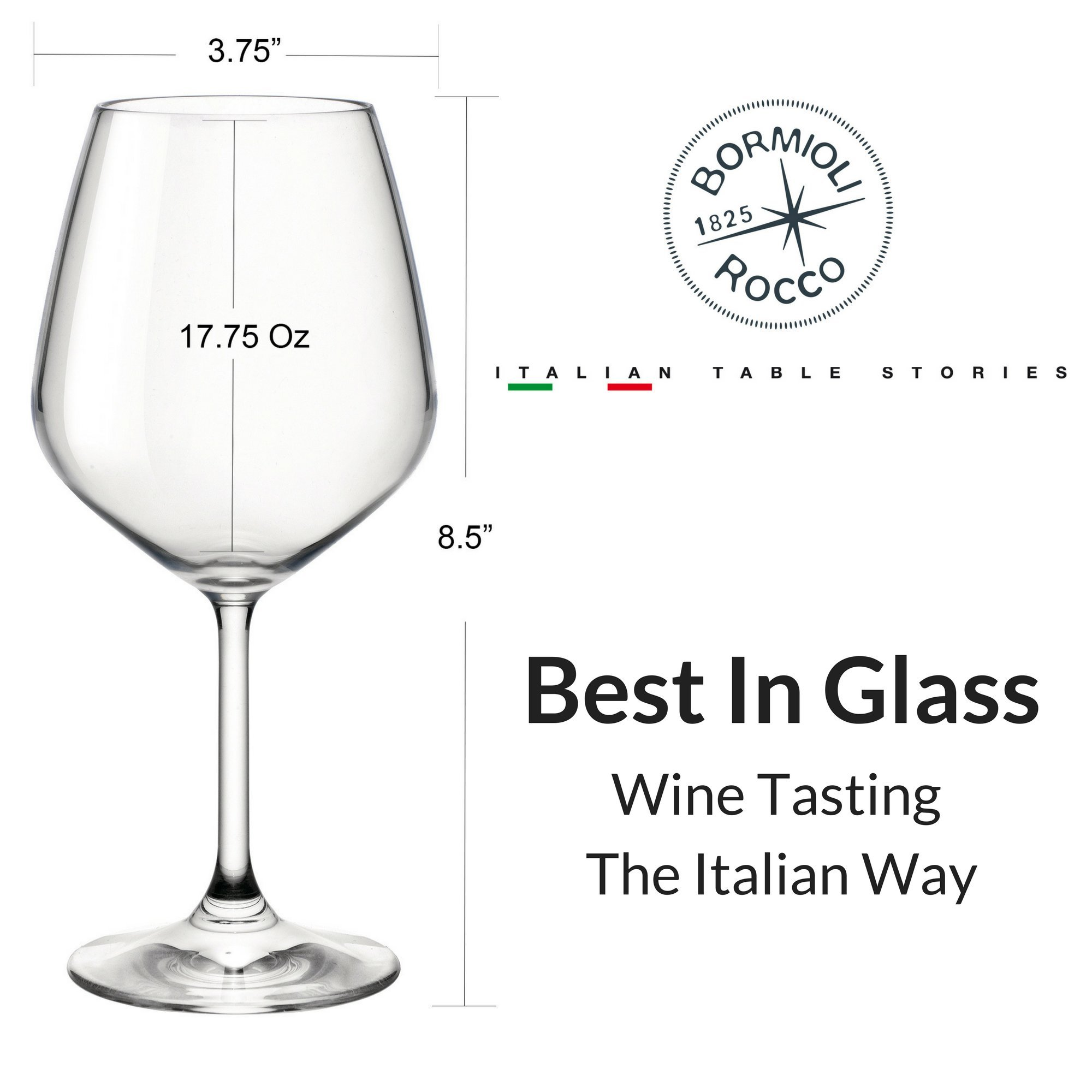 Bormioli Rocco 18oz Red Wine Glasses (Set Of 4): Crystal Clear Star Glass, Laser Cut Rim For Wine Tasting, Lead-Free Cups, Elegant Party Drinking Glassware, Dishwasher Safe, Restaurant Quality by Bormioli Rocco (Image #4)
