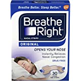 Breathe Right Drug-Free Nasal Strips, Tan, Large, for Nasal Congestion Relief, 30 count