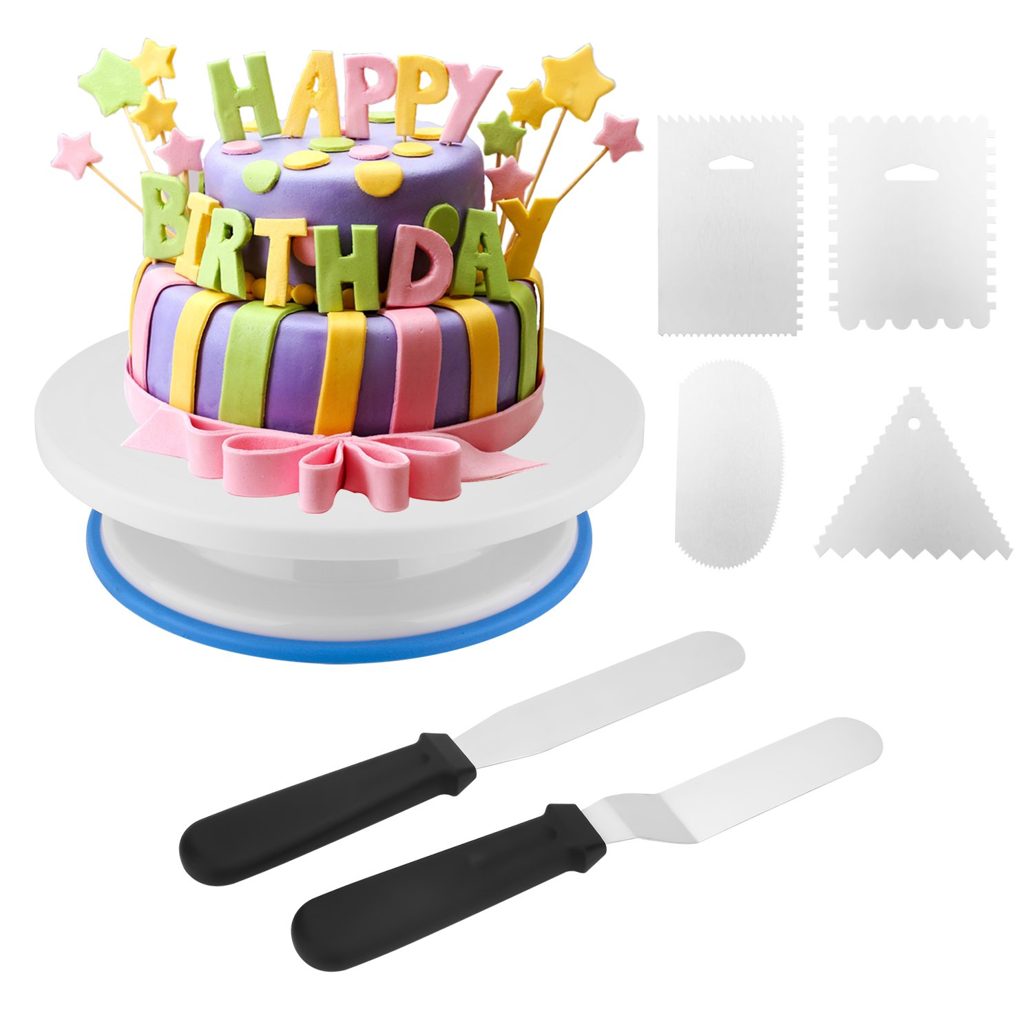 Cake Decorating Turntable, Zoegate Cake Plate Rotating Decorating Turntable Supplies with 4Pcs Metal Decorating Comb/Icing Smoother + 2 Pcs Icing Spatulas with Sided & Angled for Cakes, Pies, and Tarts