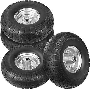 WINWEND 10 Inch Solid Rubber Wheels Tires for Wheelbarrow/Garden Wagon/Hand Cart/Trolley/Snowblower/Lawn Mower/Generator (4PCS)