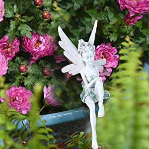 Garden Fairy Sitting Statue Resin 8.7 Inch Sitting Fairy Statue Decorative Outdoor Statues for Gardens Sculpture Decor for Home Yard Decor (White)