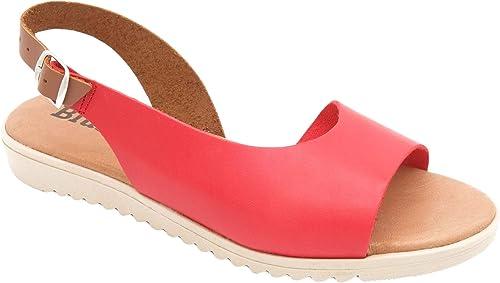 Sandalias de piel para mujer, sandalias de verano con tacón en ...