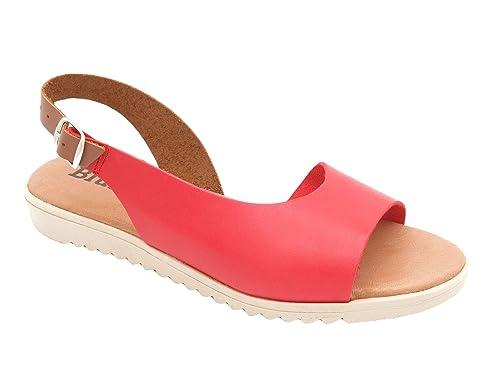 Blue Sandal Made In Spain Damen Echtleder Sandaletten mit gepolstertem Leder Fußbett und 3 cm Keilabsatz. Schöne Bequeme offene Frauen Mädchen