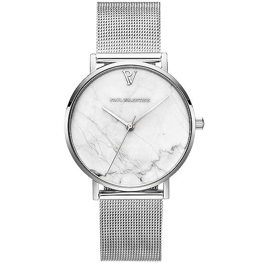 Paul Valentine PV361021 - Reloj de Pulsera para Mujer, Color Blanco y Plateado: Amazon.es: Relojes