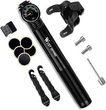 Mini Bike Pump with Gauge 210 PSI Presta Schrader Compatible Tire Bike Pumps