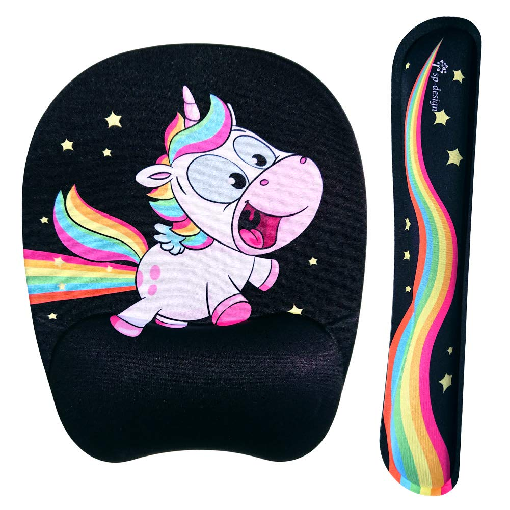 Crazy Flying Rainbow Unicorn Wrist Rest Support for Keyboard & Mouse Pad Combo with Comfortable Memory Foam Padding and Ergonomic Design for PC Computer Laptop Mac - Bring Back The Fun by sp-design