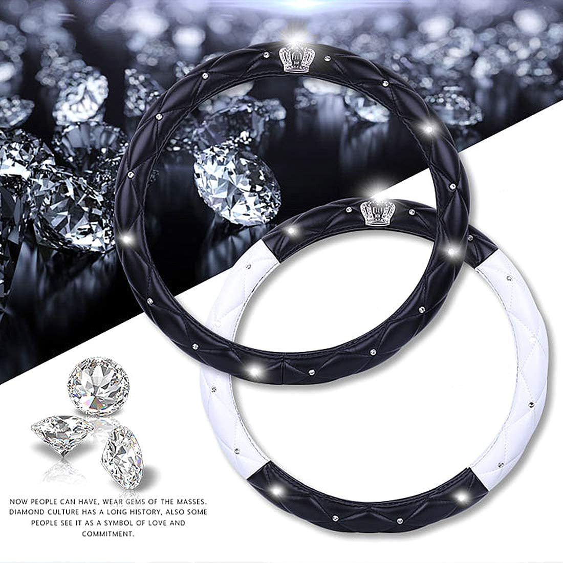 38cm A - Gold /& Black Queen ONLY Steering Wheel Cover with Noble Crown /& Bling Diamond /& Soft Leather Car Wheel Protector Elegant Series Universal 15