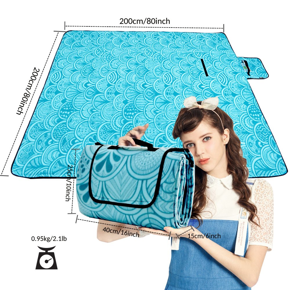 Picnic Blanket Waterproof Extra Large, Outdoot Blanket with Waterproof Backing for Family Concerts,Beach,Park /(Gray and Blue 60x80/) ZOMAKE