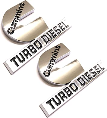 Chrome 2 Pack Cummins Turbo Diesel Emblems Badges High Output Nameplate Small Size Replacement Sticker for 2500 3500 Fender Emblem