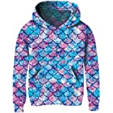 uideazone Girls Pullover Hoodies 3D Graphic Printed Hooded Sweatshirt with Pocket 4-14 Years