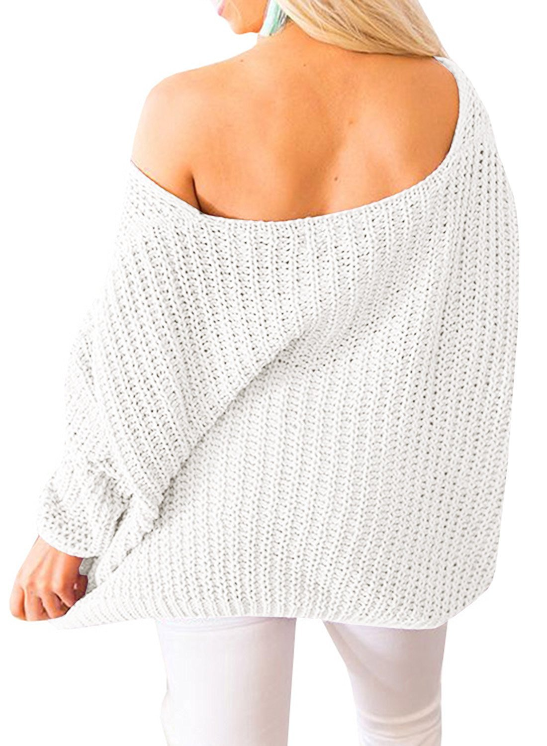 Huiyuzhi Women's Oversized Pullover Sweaters Off Shoulder V Neck Batwing Sleeve Loose Knit Chunky Sweatshirt Jumper Tops (M, White) by Huiyuzhi (Image #3)