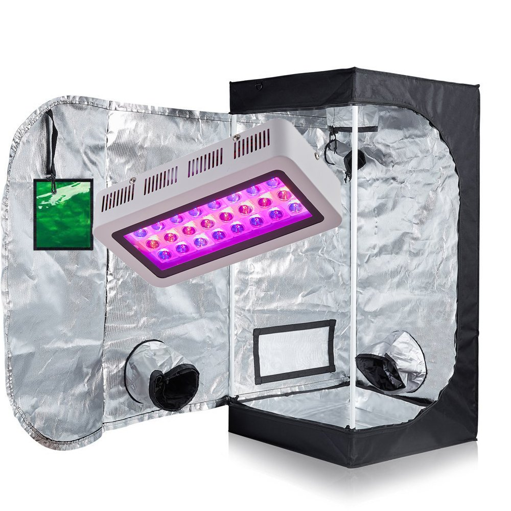TopoGrow LED 300W Grow Light kit W/24''x24''x48'' 600D Grow Tent With Green Window COMBO Plant Germination Kits Indoor Hydroponics System, LED300W/24''X24''X48'' D-door W/Window by TopoGrow