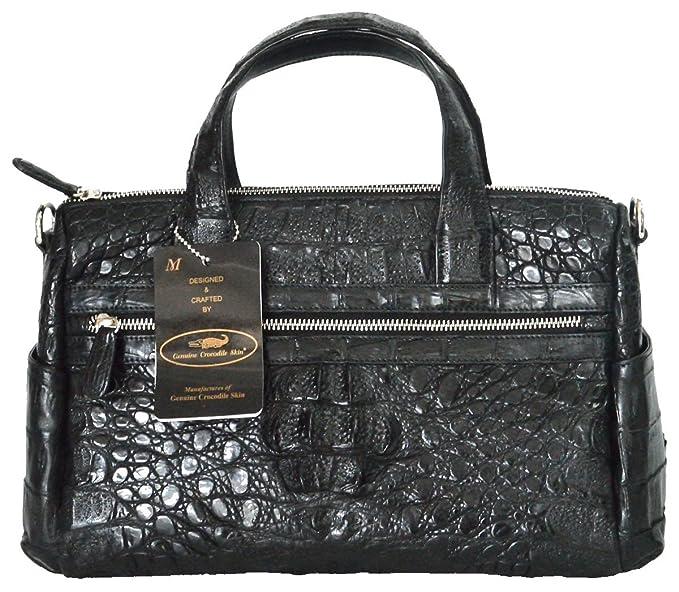 1ab0c95937841 Authentic M Crocodile Skin Womens Hornback Shoulder Bag Satchel W Strap  Handbag (Black)
