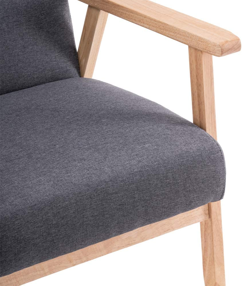 Poltrona r/étro per camera da letto sala da pranzo ufficio Poltrona met/à secolo Bracciolo singolo Reception Retro Accent Chair grigio Poltrona con telaio in legno