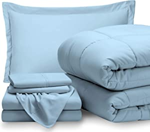 Bare Home Twin XL Sheet Set - 1800 Ultra-Soft Microfiber Bed Sheets (Twin XL, Light Blue) + Comforter Set - All Season (Twin/Twin XL, Light Blue)